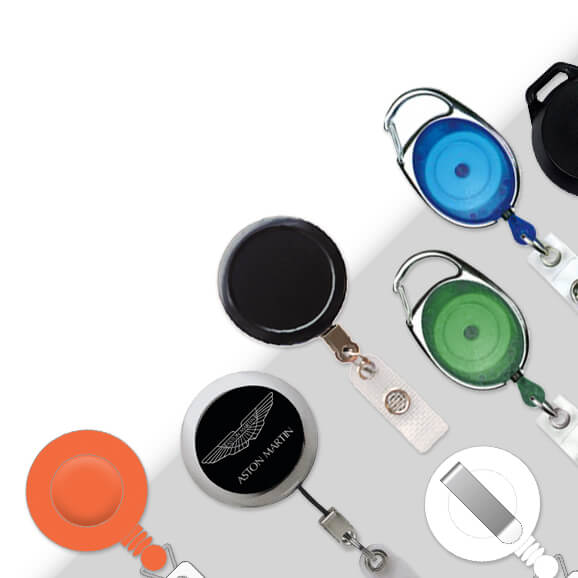 Various badge reel colours and styles