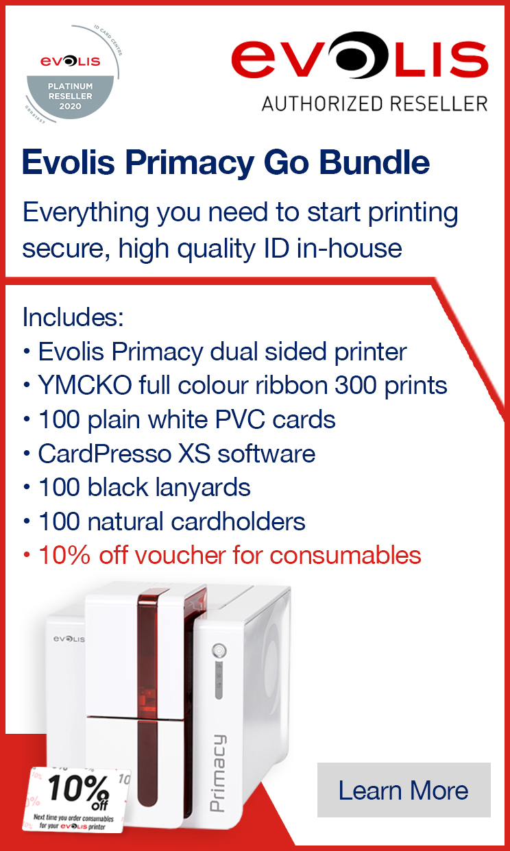 The Evolis Primacy Go Bundle includes everything you need to start printing ID