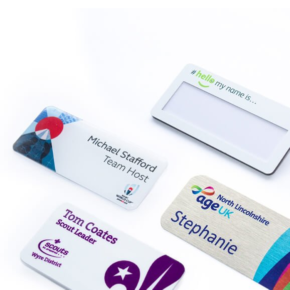 Personalised name badges for staff