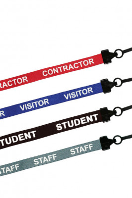 Preprinted lanyards for use in schools and places of work