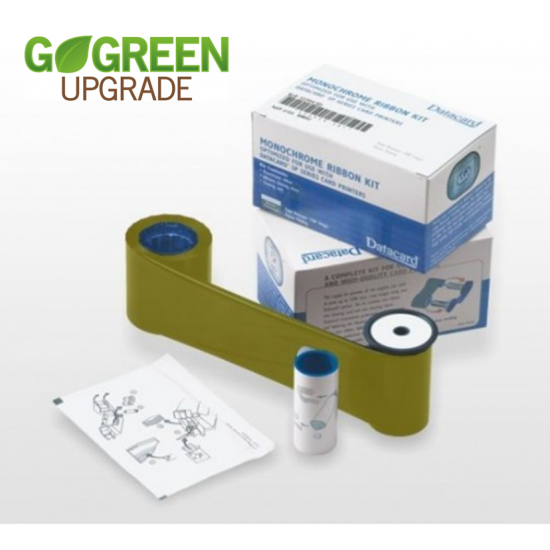 Datacard Metallic Gold Printer Ribbon 532000-055 With Cleaning Card and Cleaning Roller