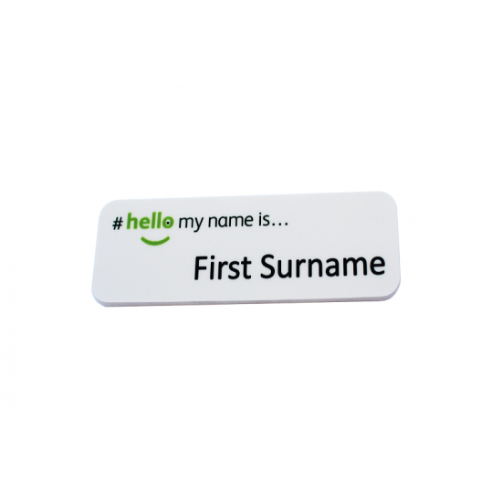 Hello My Name Is Plastic Badge With Pin Back For Easy Attachment To Clothing