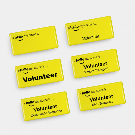 Hello My Name Is Acrylic Domed Badge for volunteers
