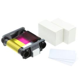 Evolis Badgy200 CBGP0001C Consumables Kit - 1 x Colour Ribbon & 100 x 0.76mm Cards