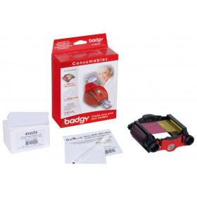 Evolis Badgy VBDG101EU Badgy Consumables Kit - 1 x colour ribbon - 100 x 20 mil Cards - 1 x cleaning kit