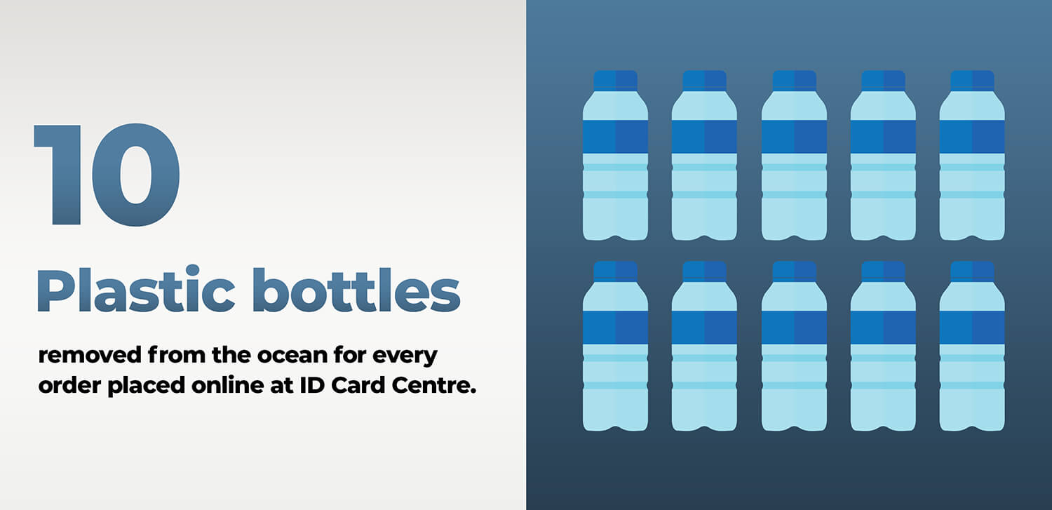 ID Card Centre is removing 10 plastic bottles from the ocean for every order placed