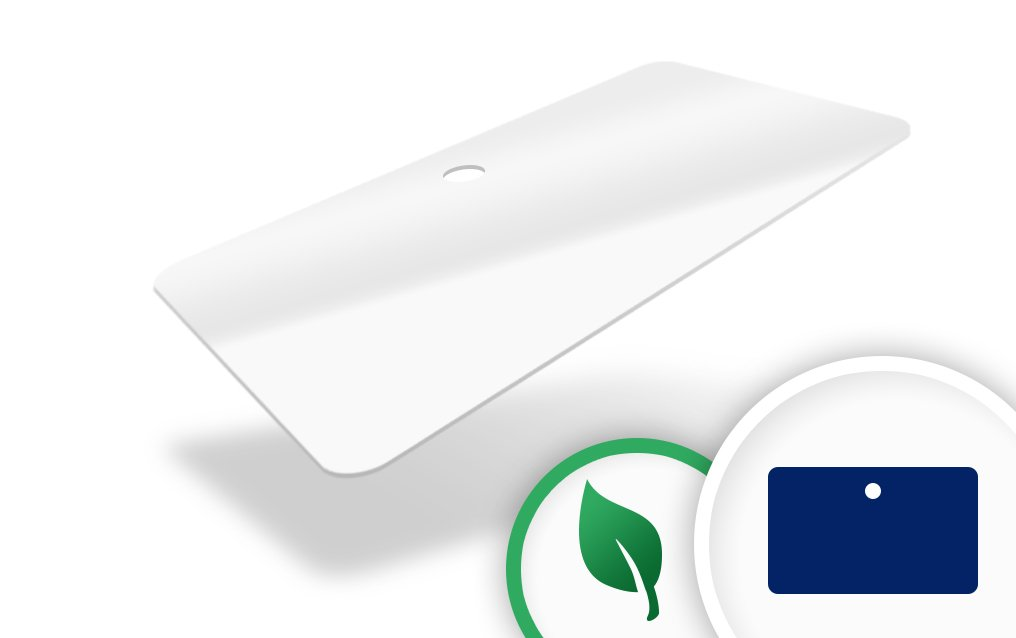 An image of White Biodegradable Card 760 mic with round hole punched to middle long edge - P...