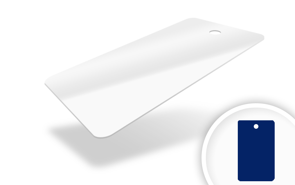 An image of PVC White 760 micron cards with round hole punched middle short edge - Pack of 1...