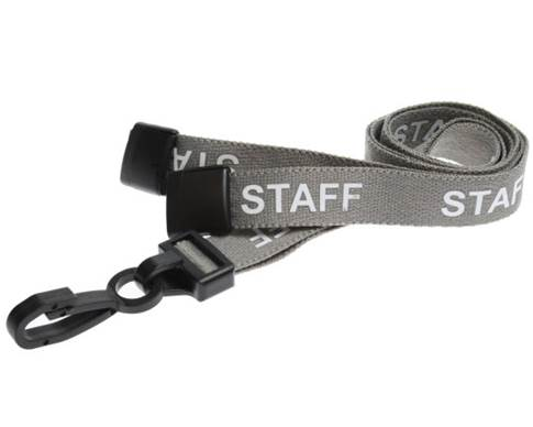 An image of 15mm Pre-printed STAFF Lanyard with Black Plastic Clip - pack of 100