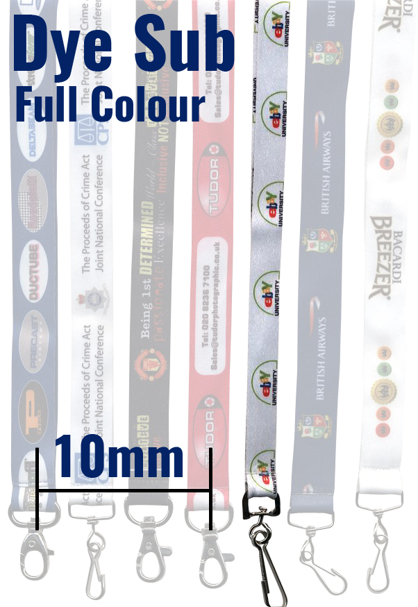 An image of 10mm Dye Sublimation full colour personalised lanyards with trigger clip and bre...