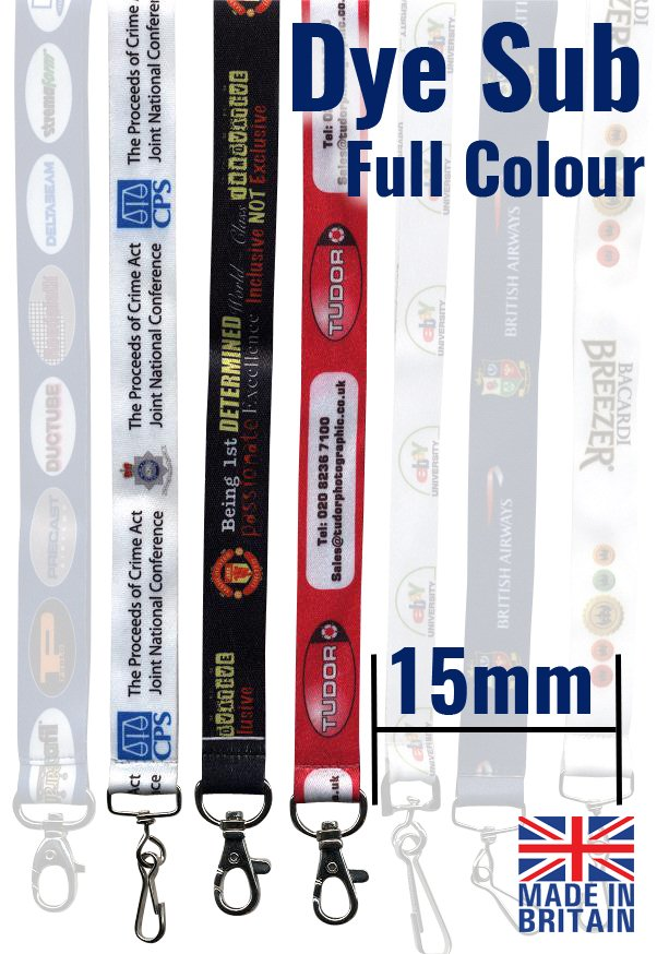 An image of 15mm Dye Sublimation full colour personalised lanyards with trigger clip and bre...