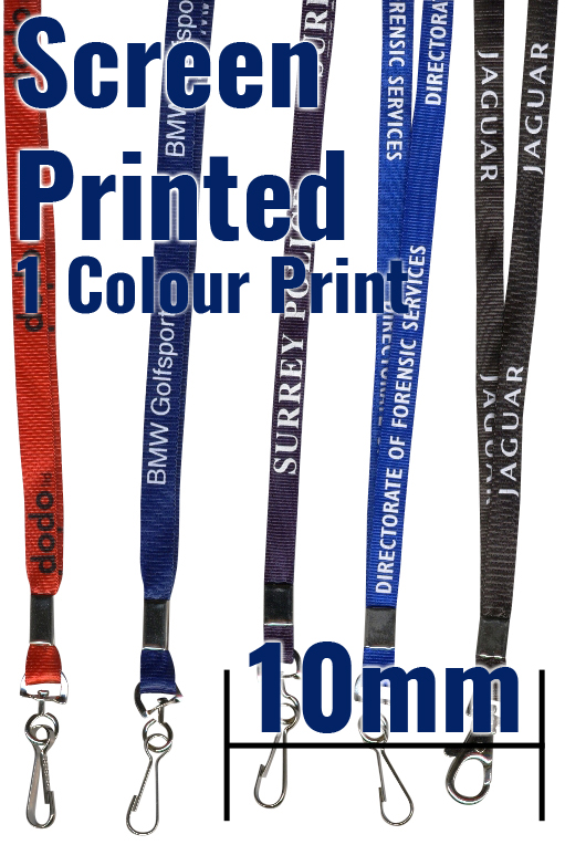 An image of 10mm Screen Printed Colour Lanyards with trigger clip and breakaway - 1 Colour P...