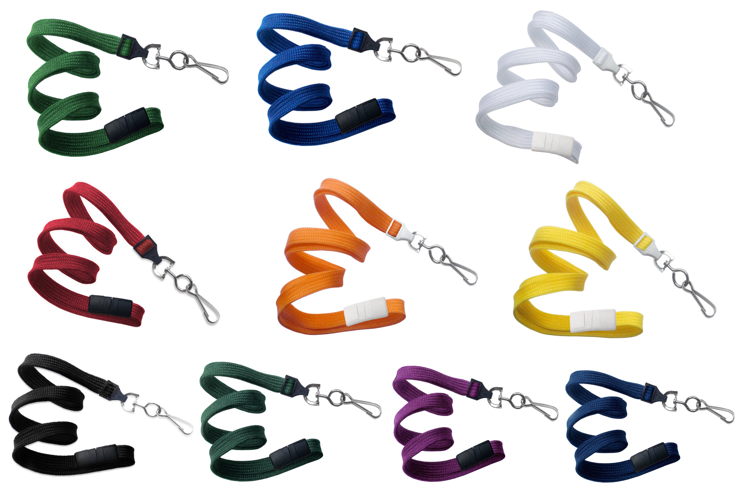 An image of 10mm Plain Lanyard with Metal Dog Clip - 10 colours available - Pack of 25