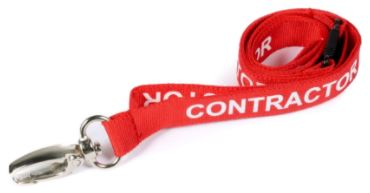 An image of 15mm Pre-printed CONTRACTOR Lanyard with Metal Lobster Clip - pack of 100