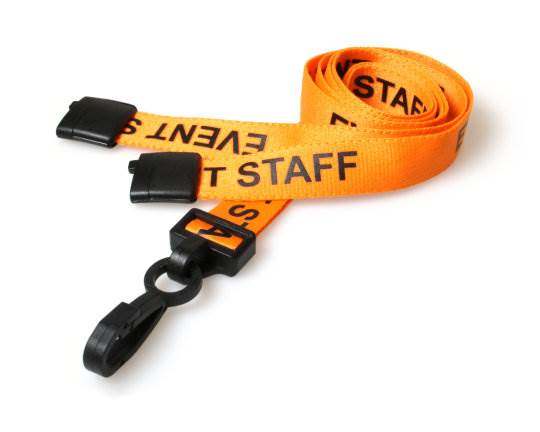 An image of 15mm Pre-printed EVENT STAFF Lanyard with Black Plastic Clip - pack of 100